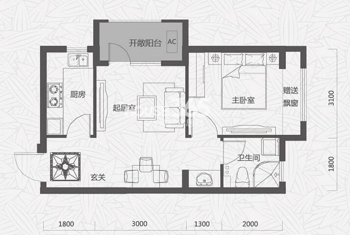 唐轩首府G4户型1室1厅1卫 50.89㎡