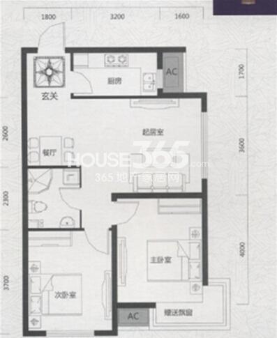 唐轩首府H2户型2室2厅1卫 78.47㎡