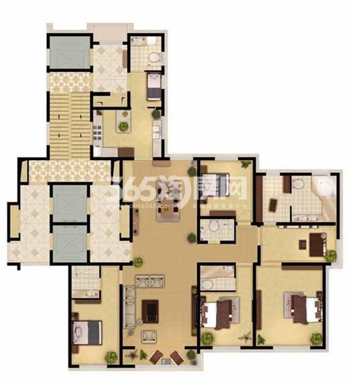 奕聪花园 户型图 标准层 4室2厅4卫