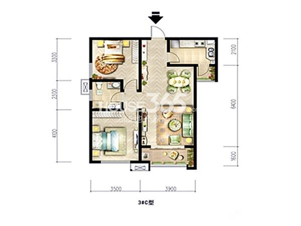 宫园中央3#C户型图