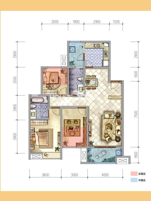 普华浅水湾熙岸8号楼B1户型3室2厅2卫1厨119㎡