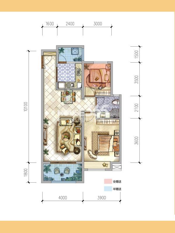 普华浅水湾熙岸8号楼 C3户型2室2厅1卫1厨87㎡