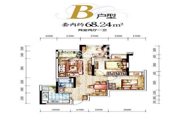 一期D区4号楼B户型 两室两厅一厨一卫 套内约68平米