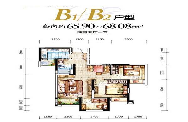 一期D区4号楼B1户型 两室两厅一厨一卫 套内约65平米