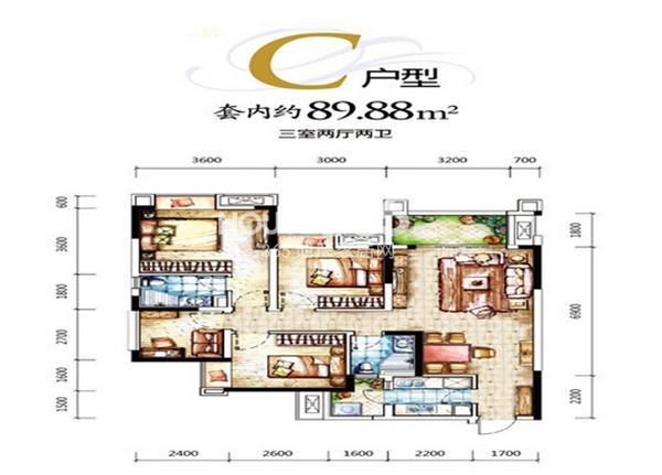 一期D区4号楼C户型 3室2厅1厨2卫 套内89平米