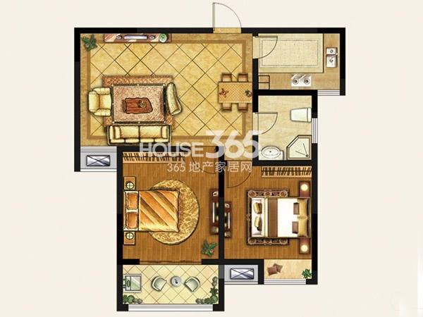 和平美景C1户型平面图86.98㎡ 两室两厅一卫