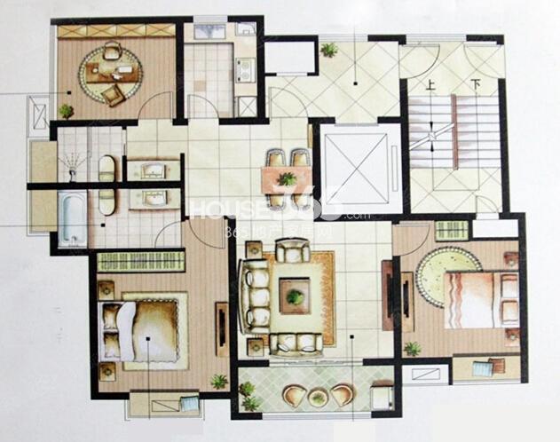 星榈湾51#、53#小高层标准层B户型2室2厅1卫1厨117平