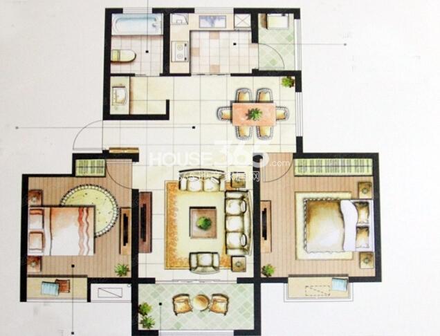 星榈湾51#、53#小高层标准层G户型2室2厅1卫1厨88㎡