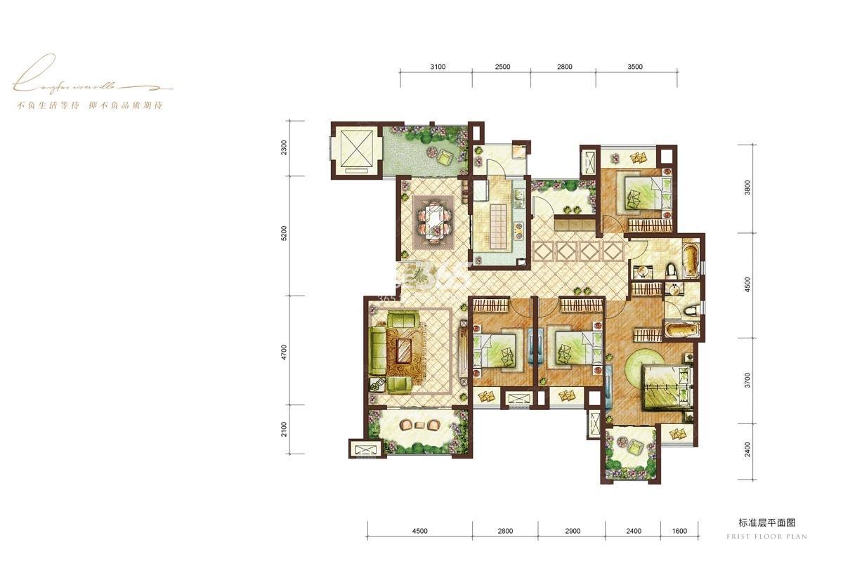 龙湖两江新宸二期洋房套内142㎡五室两厅两卫C3户型