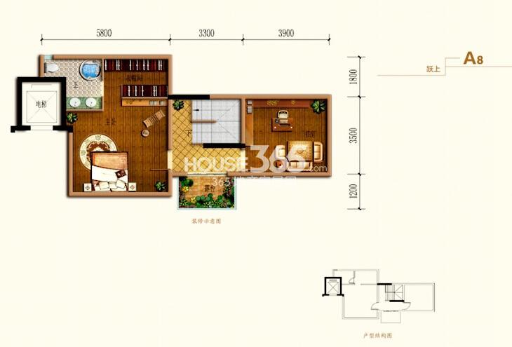 跃式A8户型 套内约80平米 跃上一室一卫一书房