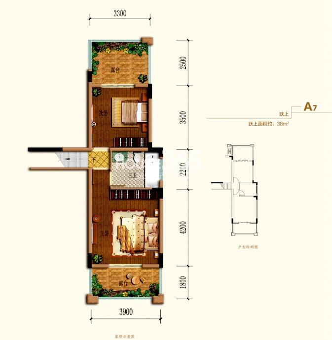 跃式A7户型 跃上两室两卫 约38平米
