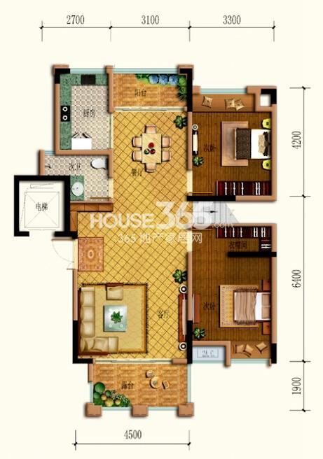 跃式A8户型 跃下两室两厅一厨一卫双阳台