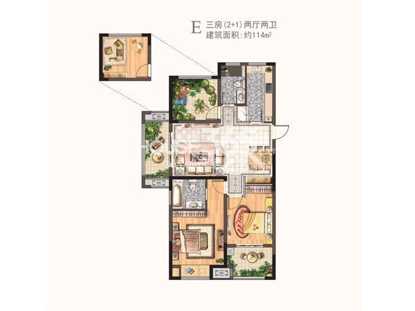 河枫御景二期E户型三房两厅两卫 114㎡