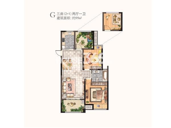 河枫御景二期G户型三房两厅一卫 99㎡