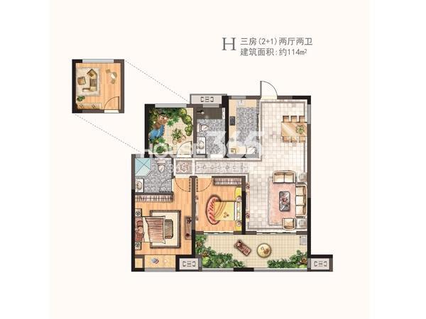 河枫御景二期H户型三房两厅两卫 114㎡