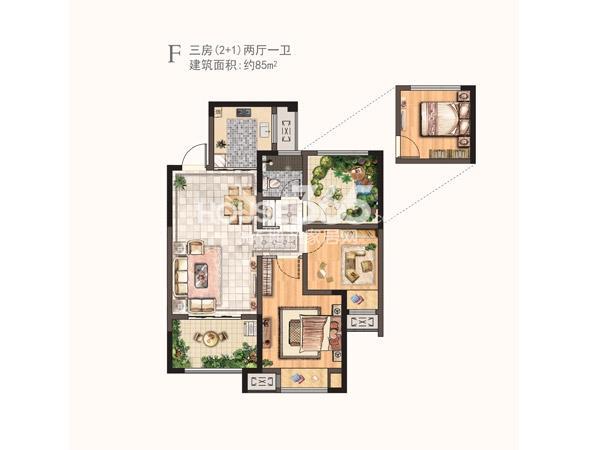 河枫御景二期F户型三房两厅一卫 85㎡