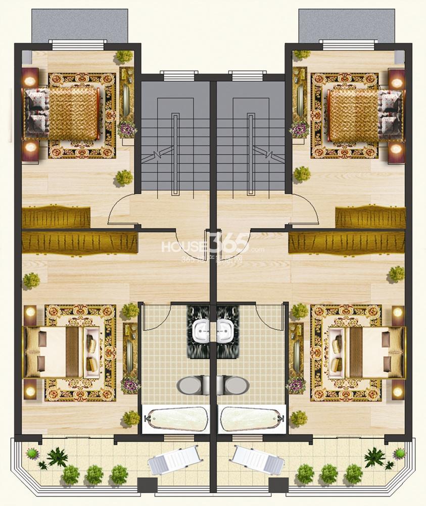 凤凰小镇青林湾联排别墅二层户型图