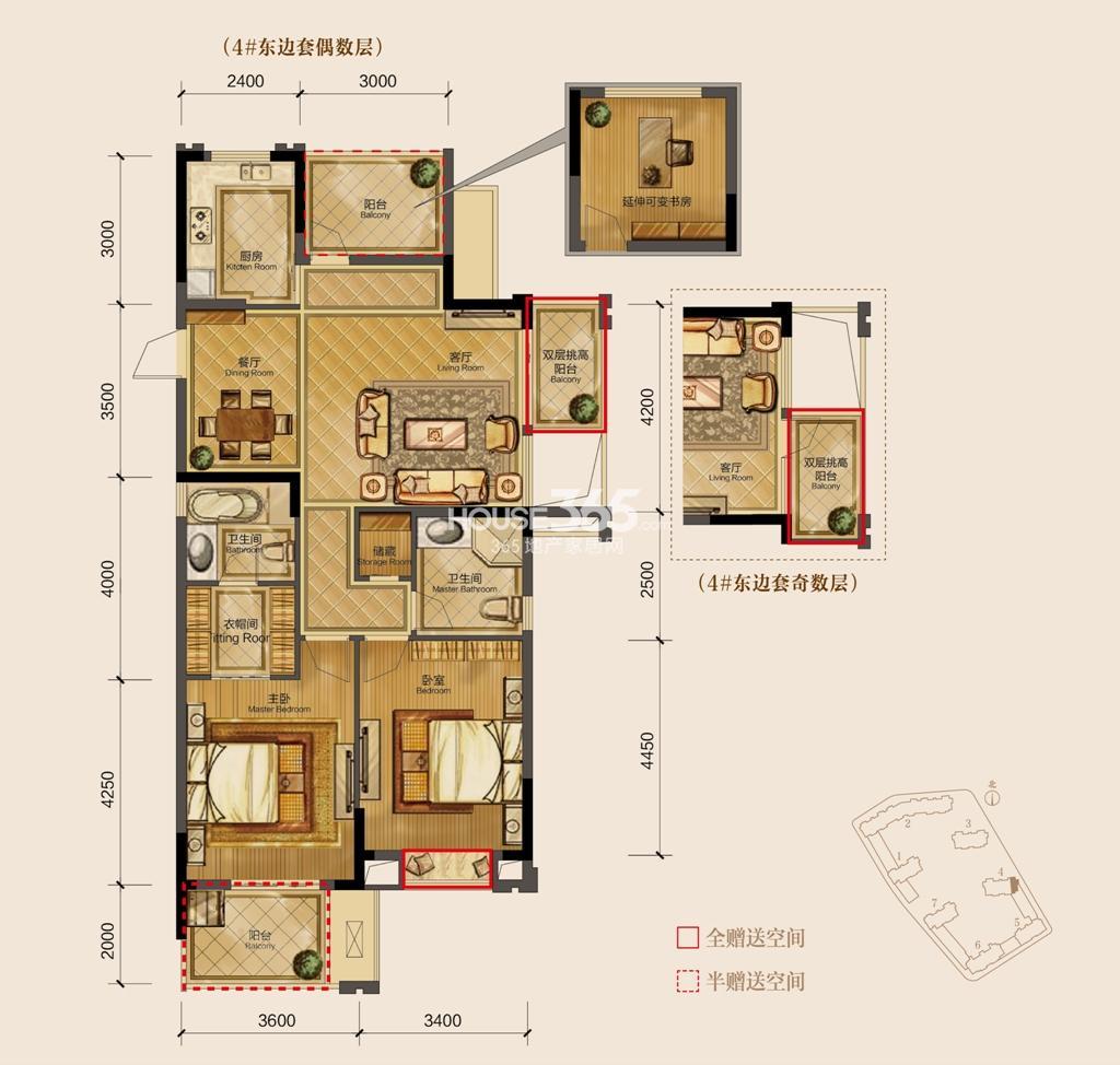 天阳尚城国际2期115方东边套奇数、偶数层(4号楼)