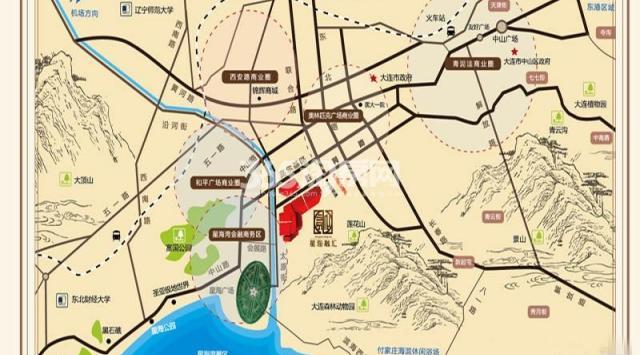 大连星海广场手绘地图