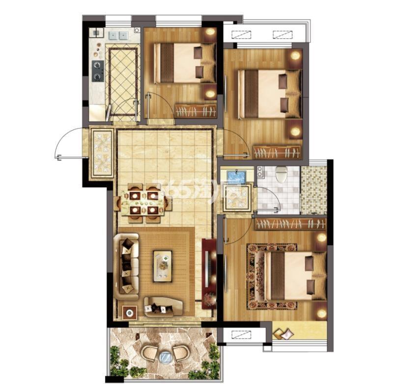 冠城大通蓝郡D组团89㎡三室二厅一卫户型