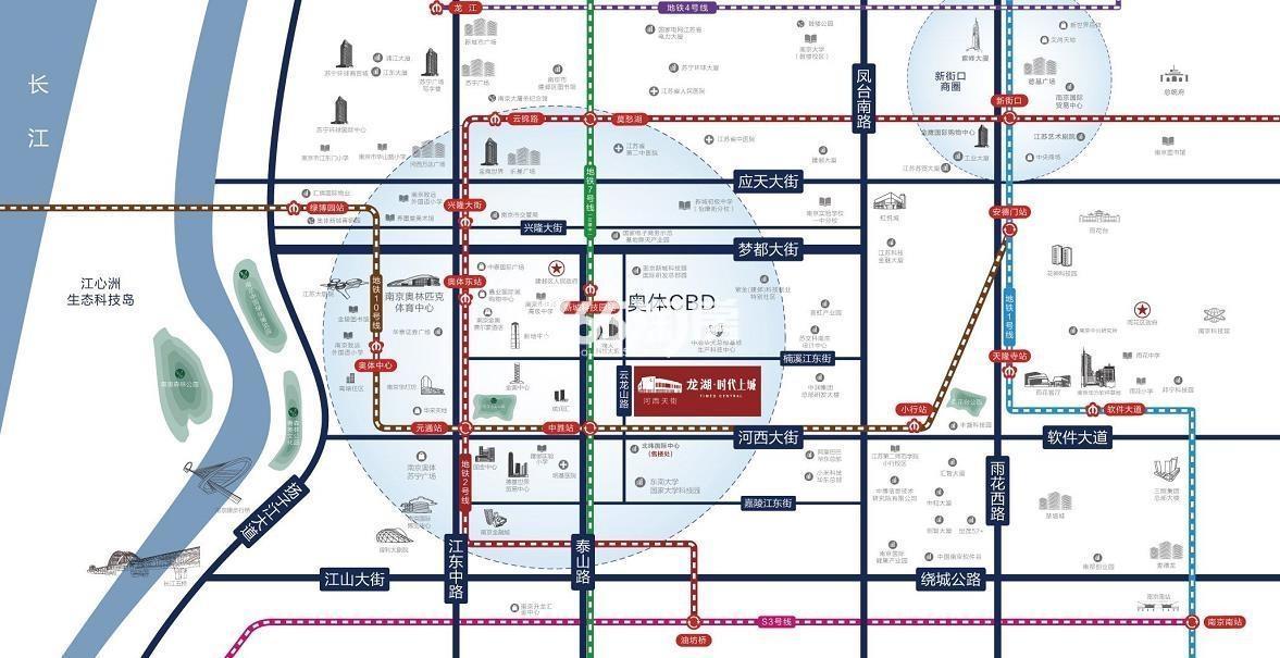 龙湖时代中心交通图
