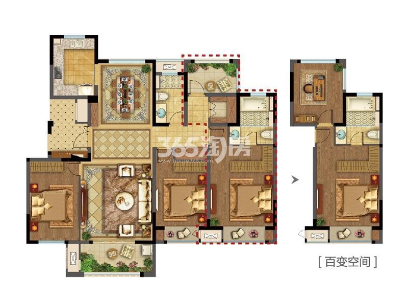 美的公园天下洋房146平D户型
