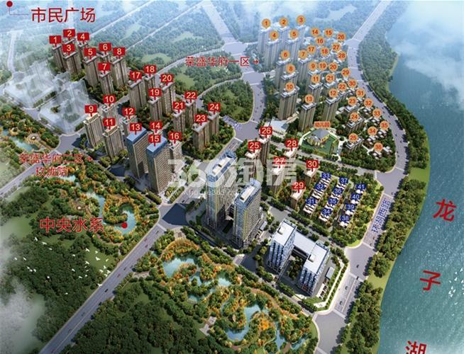 荣盛华府2区·玖珑院鸟瞰图