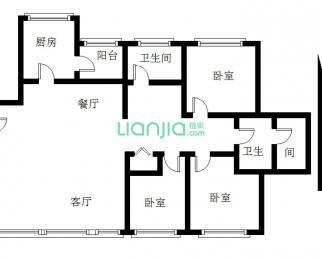 森海豪庭3室2厅2卫136平米简装整租