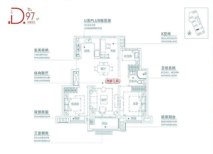 学林雅苑Y2#97㎡低密度多层户型(中间户)