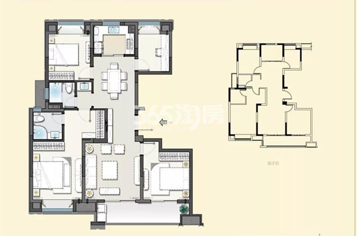 建发央誉125㎡四室两厅两卫户型