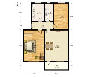 鲁迅园3室0厅1卫73.83平方产权房简装