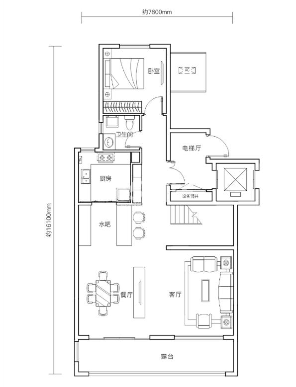 万科悦湾143㎡复式洋房一层户型