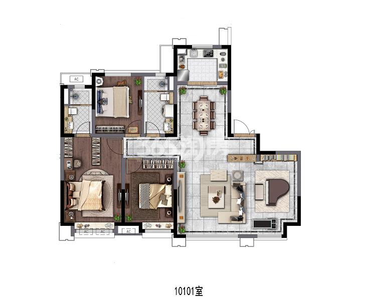 电建地产洺悦府140㎡三室两厅一厨两卫户型图