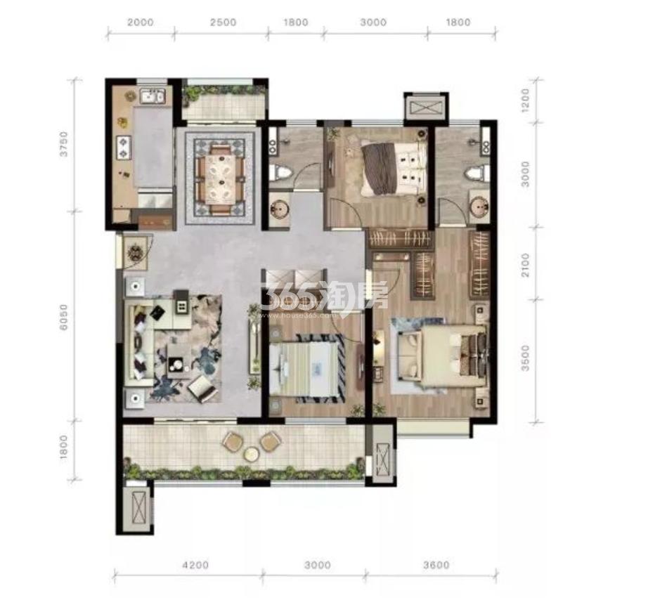 紫薇西棠项目131㎡三室两厅两卫户型图