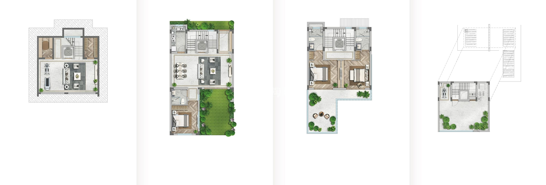 世茂国风大境117方(局部地下室)合院户型图