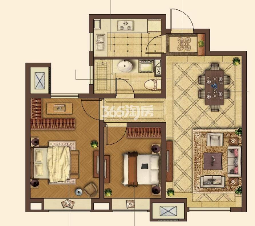 90平米两室两厅一卫