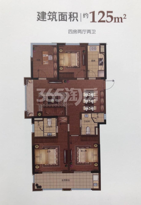 景瑞阳光城法兰公园高层1、2号楼125方户型图