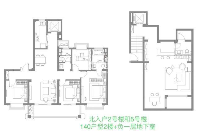 140㎡户型2楼+负一层地下室户型