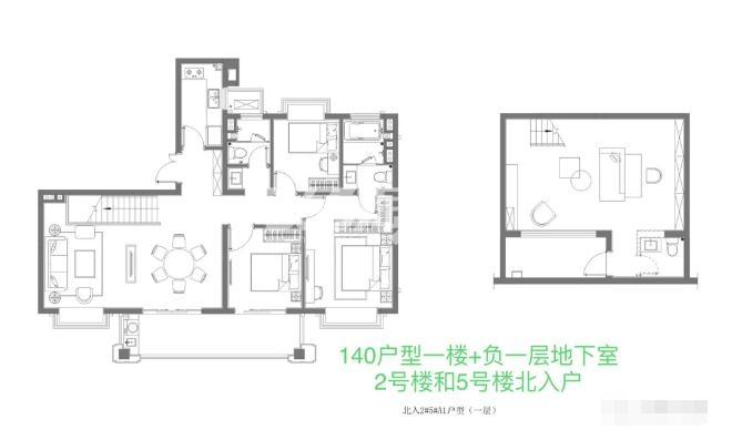 140㎡户型1楼+负一层地下室户型
