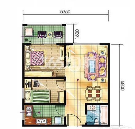 恒天第五座a1户型2室2厅1卫建筑面积约58.22平米