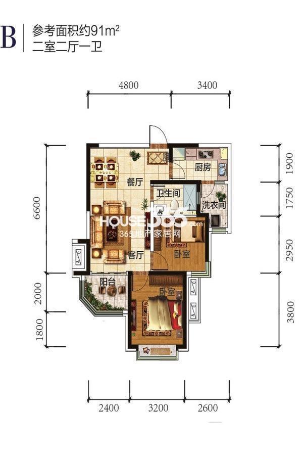 恒大雅苑2室2厅1卫91㎡