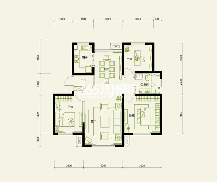 高层标准层 3室2厅1卫1厨 120平米