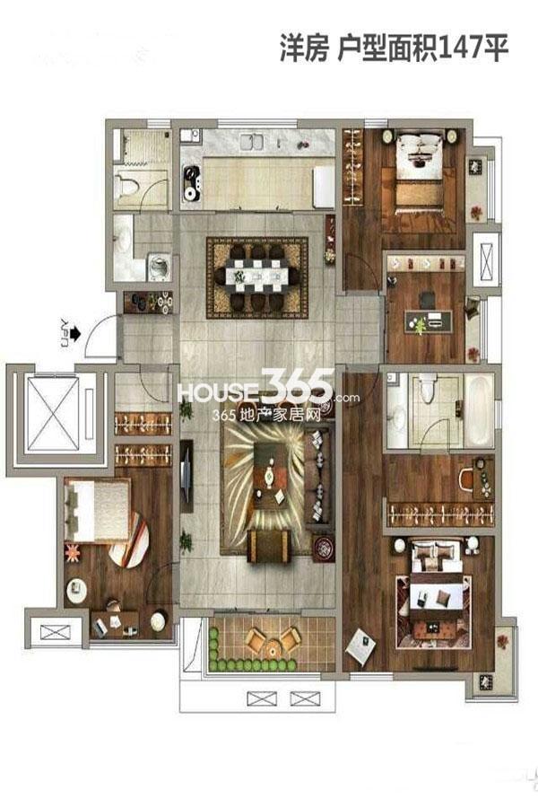 万科金域东郡2期5号楼3室2厅2卫1厨147㎡