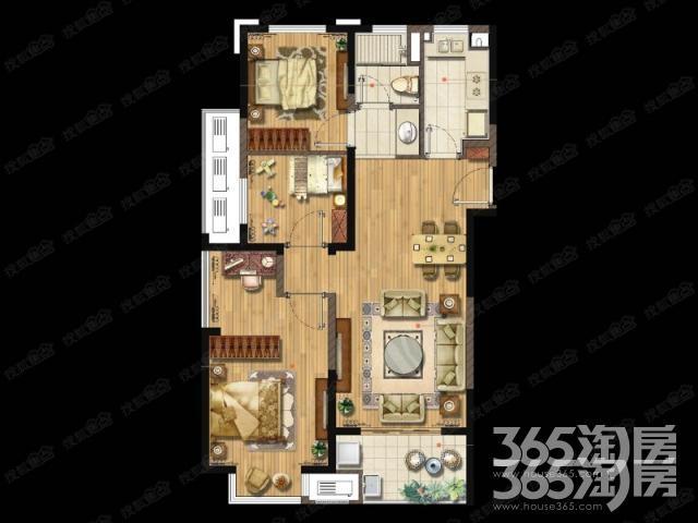 金地湖城艺境3室2厅1卫97平方产权房精装