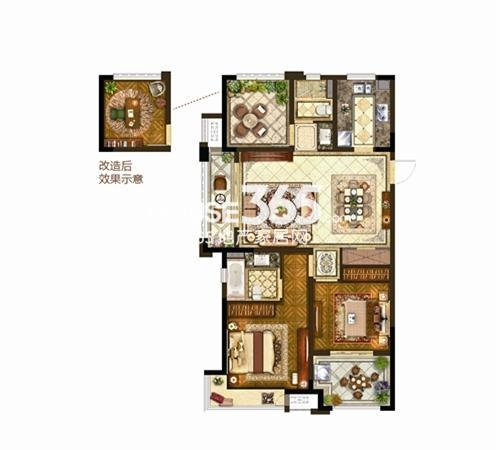保利公园九里8#110㎡户型2+1房两厅两卫