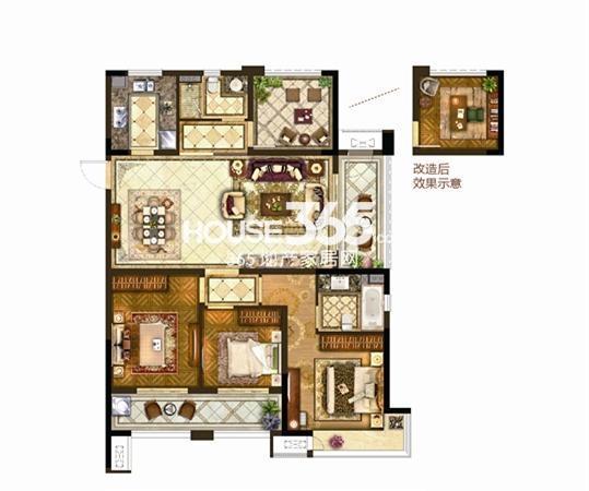 保利公园九里8#133㎡户型图3+1房两厅两卫