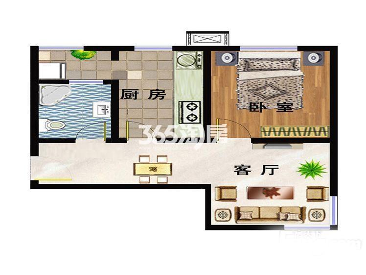 洋房E2户型 65平米一室