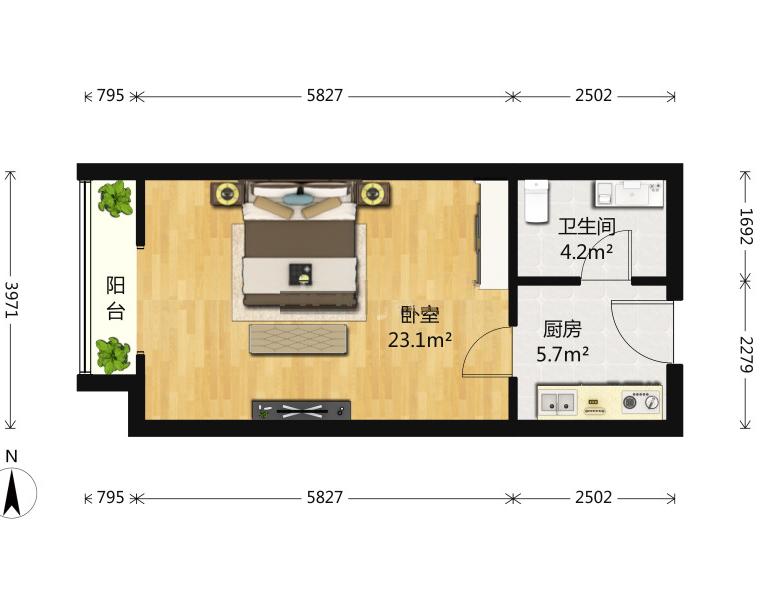 同曦新贵之都1室1厅1卫45平米2009年产权房精装