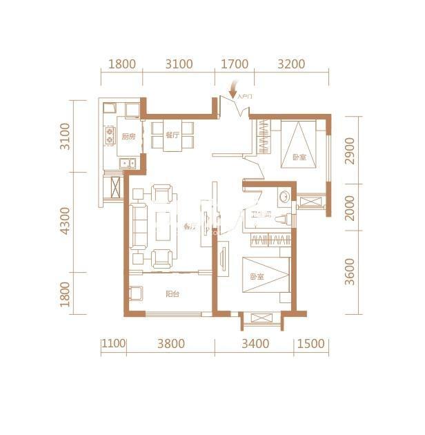 伟业公馆9#E4户型两室两厅一卫一厨90.36㎡