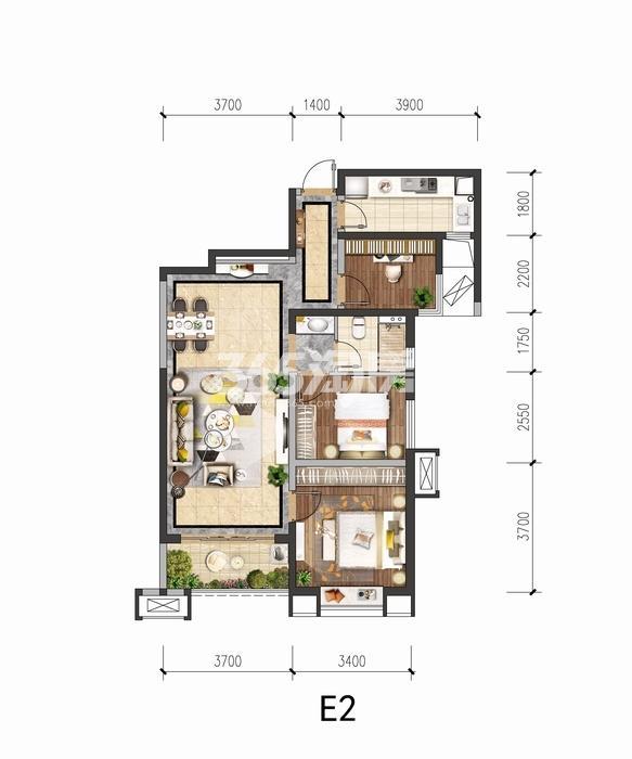 中国铁建花语城E2户型三室两厅一卫98平
